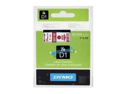 Standardowa taśma Dymo D1 - 24mm x 7m - czerwony/biała
